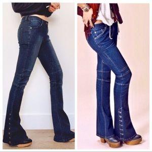 Free People Skylar Button Hem Flare Jeans